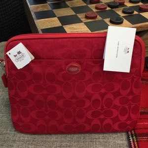 NWT red coach bag/ coach pouch